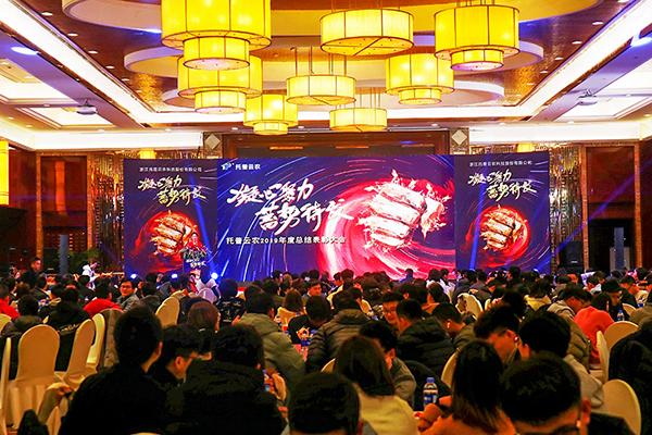 托普云农在浙江杭州海外海国际酒店召开2019年度总结表彰大会暨2020新春联欢晚会